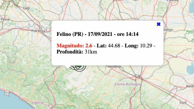 Terremoto in Emilia-Romagna oggi, venerdì 17 settembre 2021: scossa M 2.6 in provincia di Parma   Dati INGV