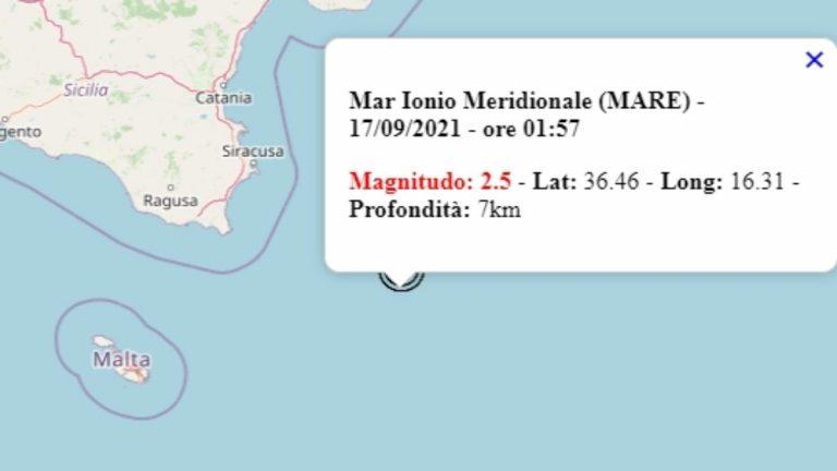 Terremoto in Italia oggi, 17 settembre 2021, scossa M 2.5 sul mar Ionio | Dati Ingv
