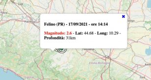 Terremoto in Emilia-Romagna oggi, venerdì 17 settembre 2021: scossa M 2.6 in provincia di Parma