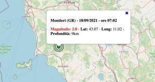 Terremoto in Toscana oggi, sabato 18 settembre 2021: scossa M 2.8 in provincia di Grosseto