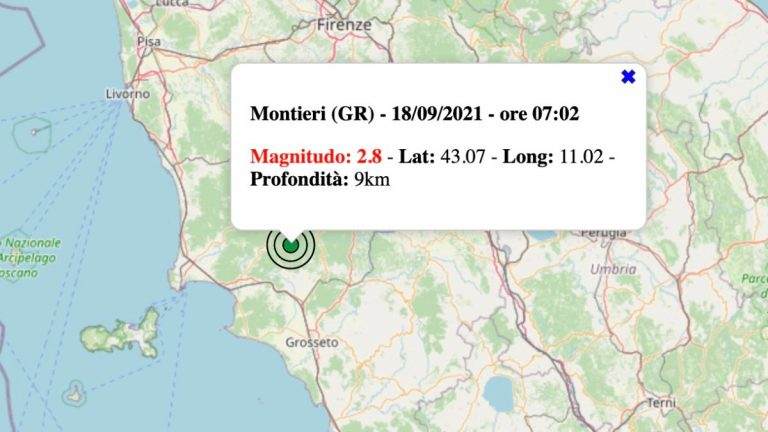Terremoto in Toscana oggi, sabato 18 settembre 2021: scossa M 2.8 in provincia di Grosseto   Dati INGV