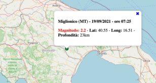 Terremoto in Basilicata oggi, domenica 19 settembre 2021: scossa M 2.2 in provincia di Matera