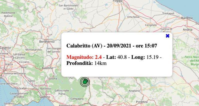 Terremoto in Campania oggi, lunedì 20 settembre 2021: scossa M 2.4 in provincia di Avellino