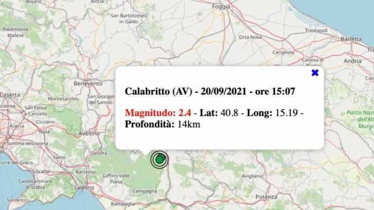 Terremoto in Campania oggi, lunedì 20 settembre 2021: scossa M 2.4 in provincia di Avellino | Dati INGV