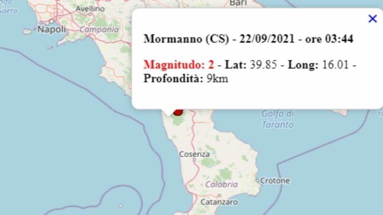 Terremoto in Calabria oggi, mercoledì 22 settembre 2021, scossa M 2.0 in provincia di Cosenza | Dati Ingv