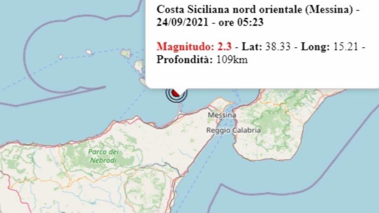 Terremoto in Sicilia oggi, venerdì 24 settembre 2021, scossa M 2.3 in provincia di Messina   Dati Ingv