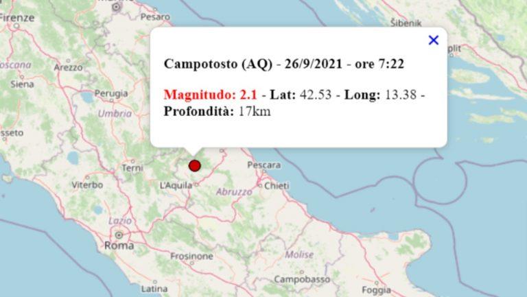 Terremoto oggi Abruzzo, 26 settembre 2021: scossa M 2.1 registrata in provincia dell'Aquila – Dati INGV