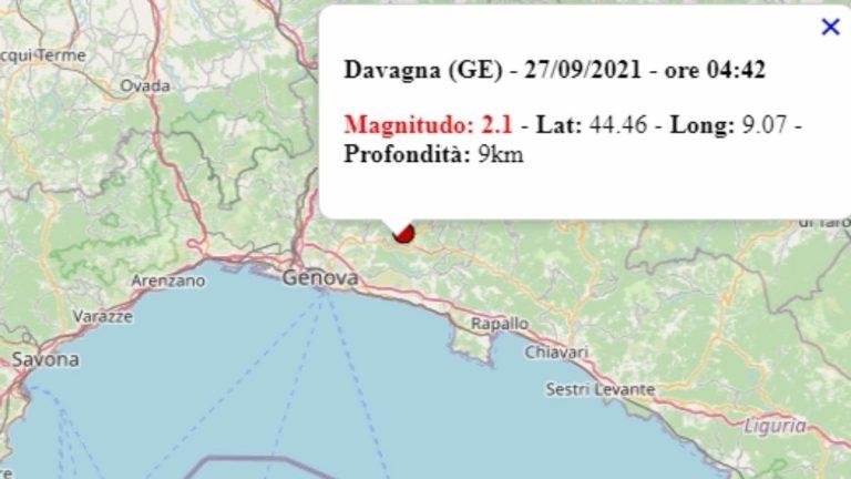 Terremoto in Liguria oggi, 27 settembre 2021, scossa M 2.1 in provincia Genova   Dati Ingv