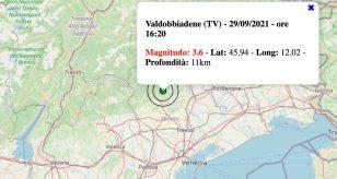 Terremoto in Veneto oggi, mercoledì 29 settembre 2021: scossa M 3.6 in provincia di Treviso | Dati Ingv