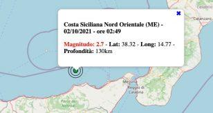 Terremoto in Sicilia oggi, sabato 2 ottobre 2021: scossa M 2.7 in provincia di Messina