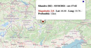 Terremoto in Trentino-Alto Adige oggi, domenica 3 ottobre 2021: scossa M 2.8 in provincia di Bolzano