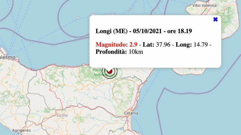 Terremoto in Sicilia oggi, martedì 5 ottobre 2021: scossa M 2.9 in provincia di Messina – Dati INGV