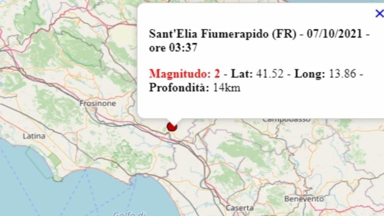 Terremoto nel Lazio oggi, 7 ottobre 2021, scossa M 2.0 in provincia di Frosinone | Dati Ingv