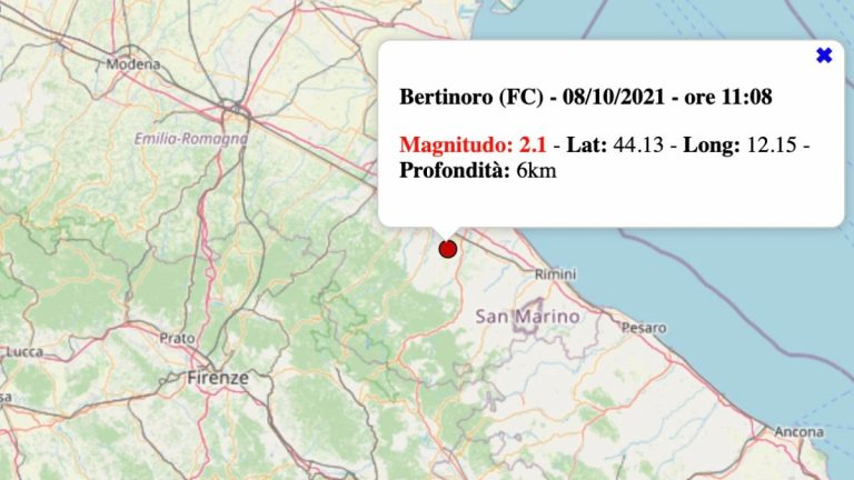 Terremoto in Emilia-Romagna oggi, venerdì 8 ottobre 2021: scossa M 2.1 in provincia di Forlì-Cesena | Dati INGV