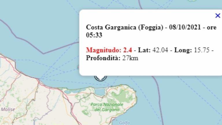 Terremoto in Puglia oggi, venerdì 8 ottobre 2021, scossa M 2.4 in provincia di Foggia | Dati Ingv