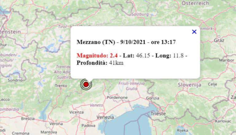 Terremoto oggi in Trentino Alto Adige, 9 ottobre 2021: scossa M 2.4 in provincia di Trento | Dati INGV