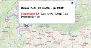 Terremoto in Valle d'Aosta oggi, domenica 10 ottobre 2021: scossa M 2.3