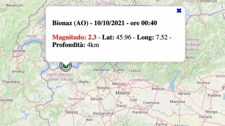 Terremoto in Valle d'Aosta oggi, domenica 10 ottobre 2021: scossa M 2.3 in provincia di Aosta | Dati INGV