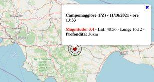 Terremoto in Basilicata oggi, lunedì 11 ottobre 2021: scossa M 3.4 in provincia di Potenza