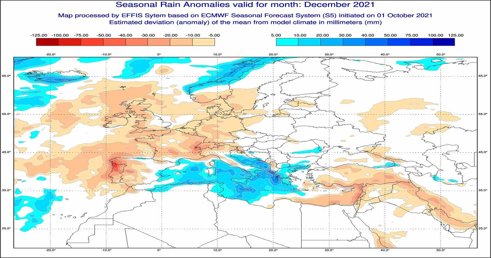 Anomalie di precipitazione previste dal modello ECMWF per dicembre 2021 - effis.jrc.ec.europa.eu