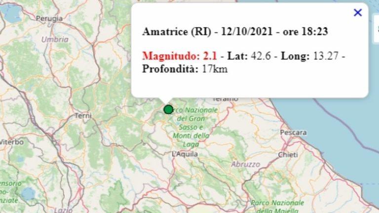 Terremoto nel Lazio oggi, 12 ottobre 2021, scossa M 2.1 in provincia di Rieti – Dati Ingv