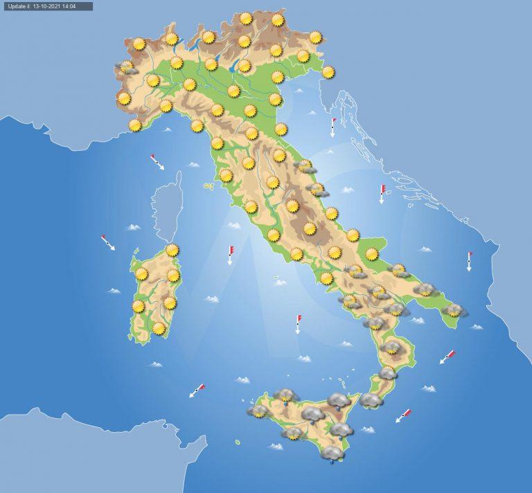PREVISIONI METEO domani 14 ottobre: tempo in miglioramento in ITALIA ma persiste il maltempo su alcune regioni