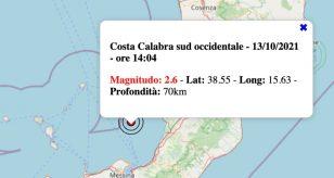 Terremoto in Calabria oggi, mercoledì 13 ottobre 2021: scossa M 2.6 | Dati INGV