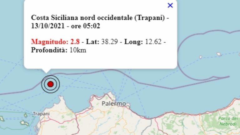Terremoto in Sicilia oggi, 13 ottobre 2021: scossa M 2.8 in provincia di Trapani | Dati Ingv