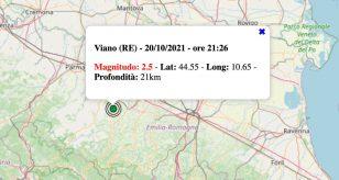 Terremoto in Emilia-Romagna oggi, mercoledì 20 ottobre 2021: scossa M 2.5 in provincia di Reggio